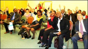 crowd of participants at training